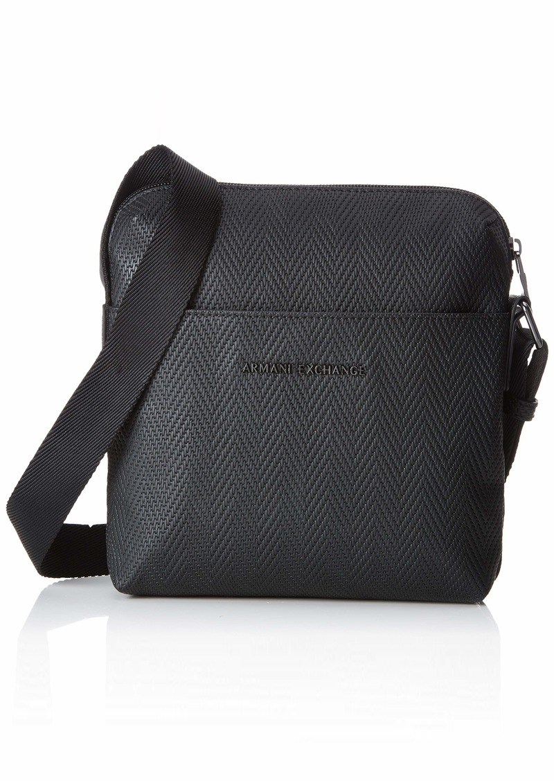 Armani Exchange Men's Small Crossbody Bag with Printed Logo Black Chevron