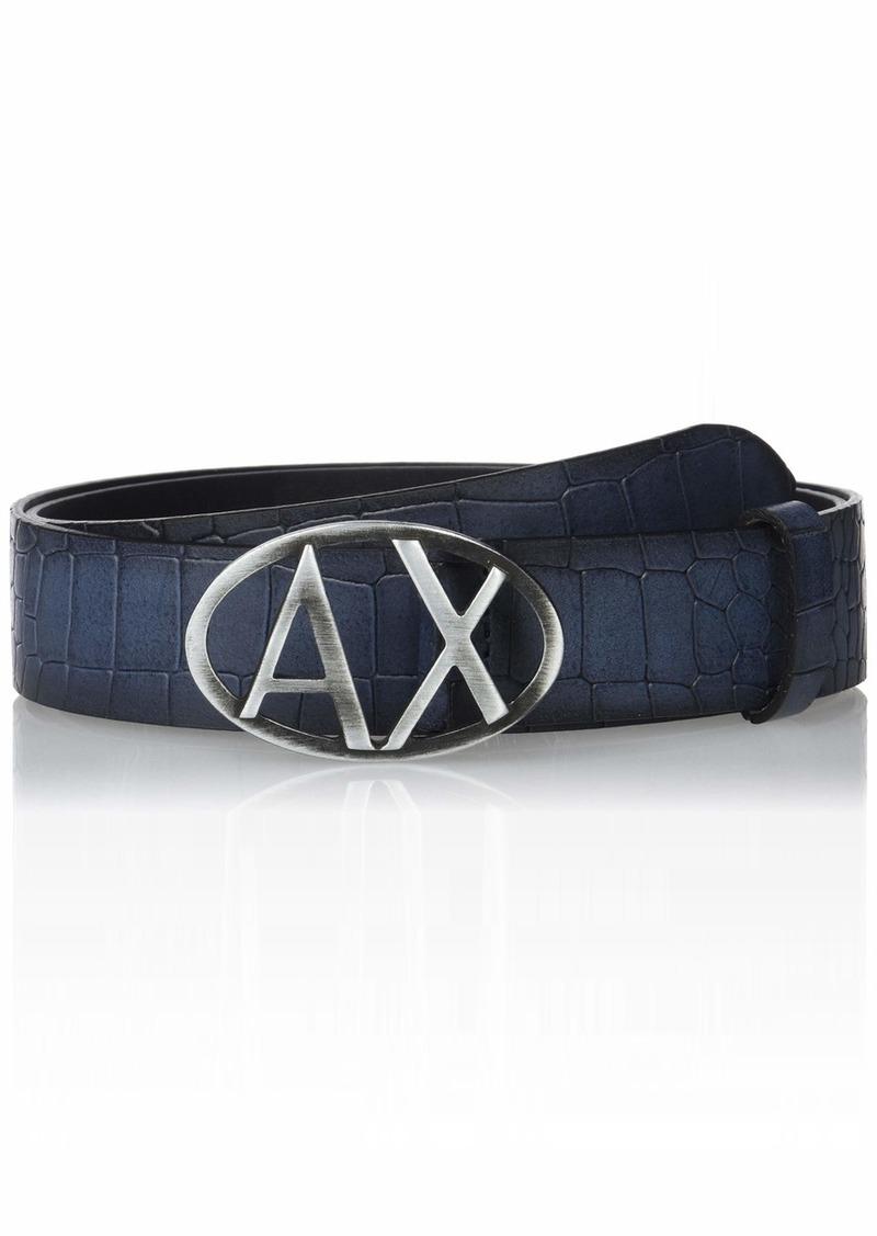 Armani Exchange Men's Snakeskin Print Leather Skinny Belt Navy