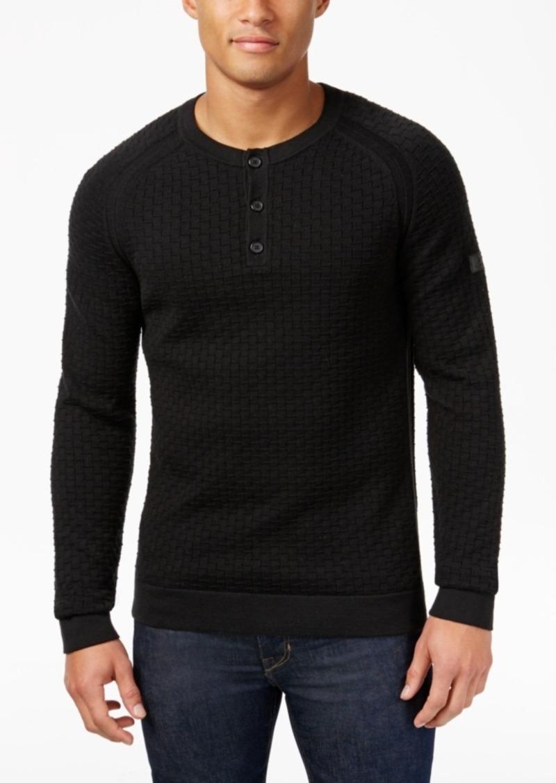 Armani Exchange Men's Textured Raglan-Sleeve Henley Sweater