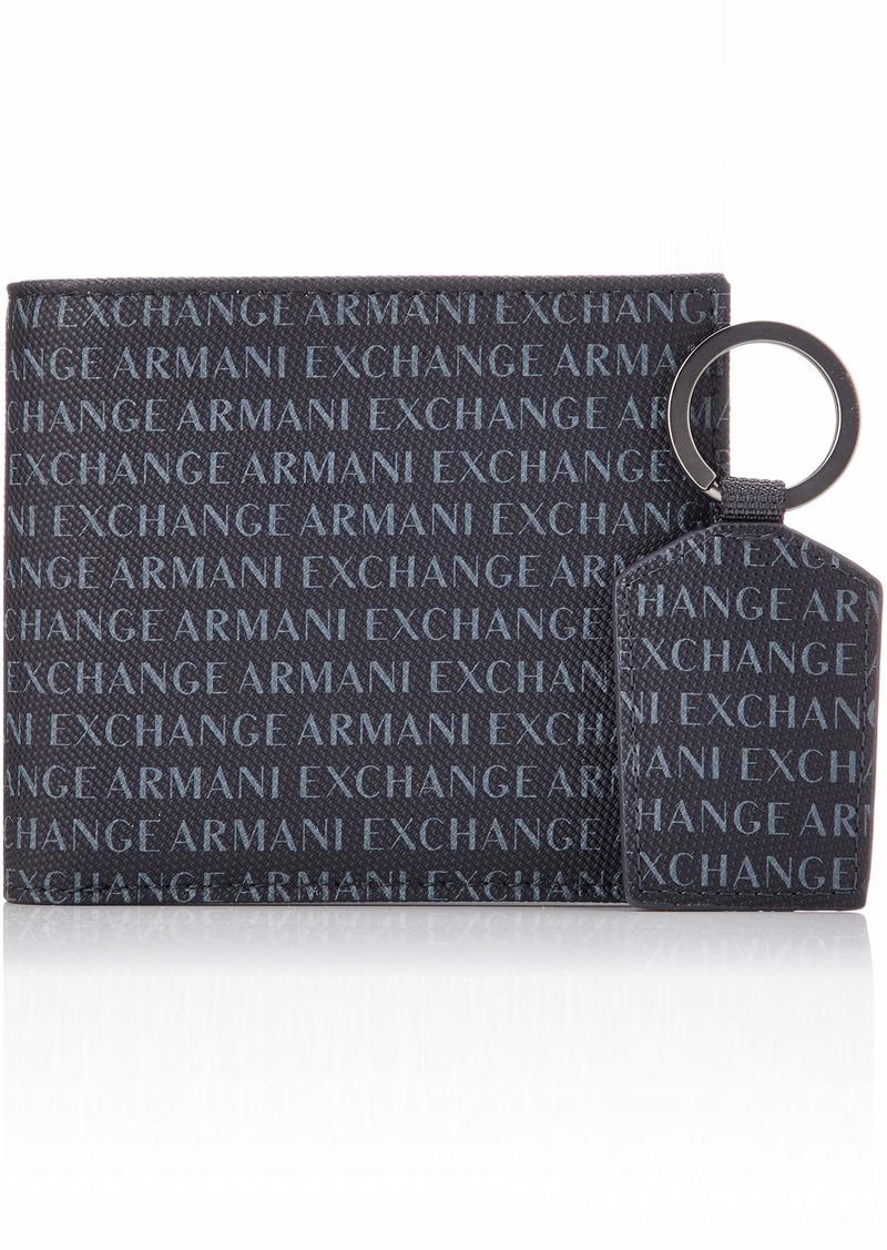 Armani Exchange Men's Wallet + Keychain Accessory Set navy