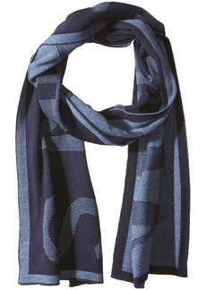 Armani Exchange Men's Woolblended Knit Scarf with Large Print blue navy ONE SIZE