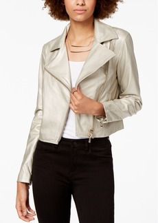 Armani Exchange Metallic Faux-Leather Biker Jacket