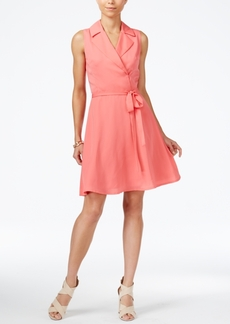 Armani Exchange Sleeveless Notched-Collar Shirtdress