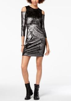 Armani Exchange Velvet Cold-Shoulder Sheath Dress