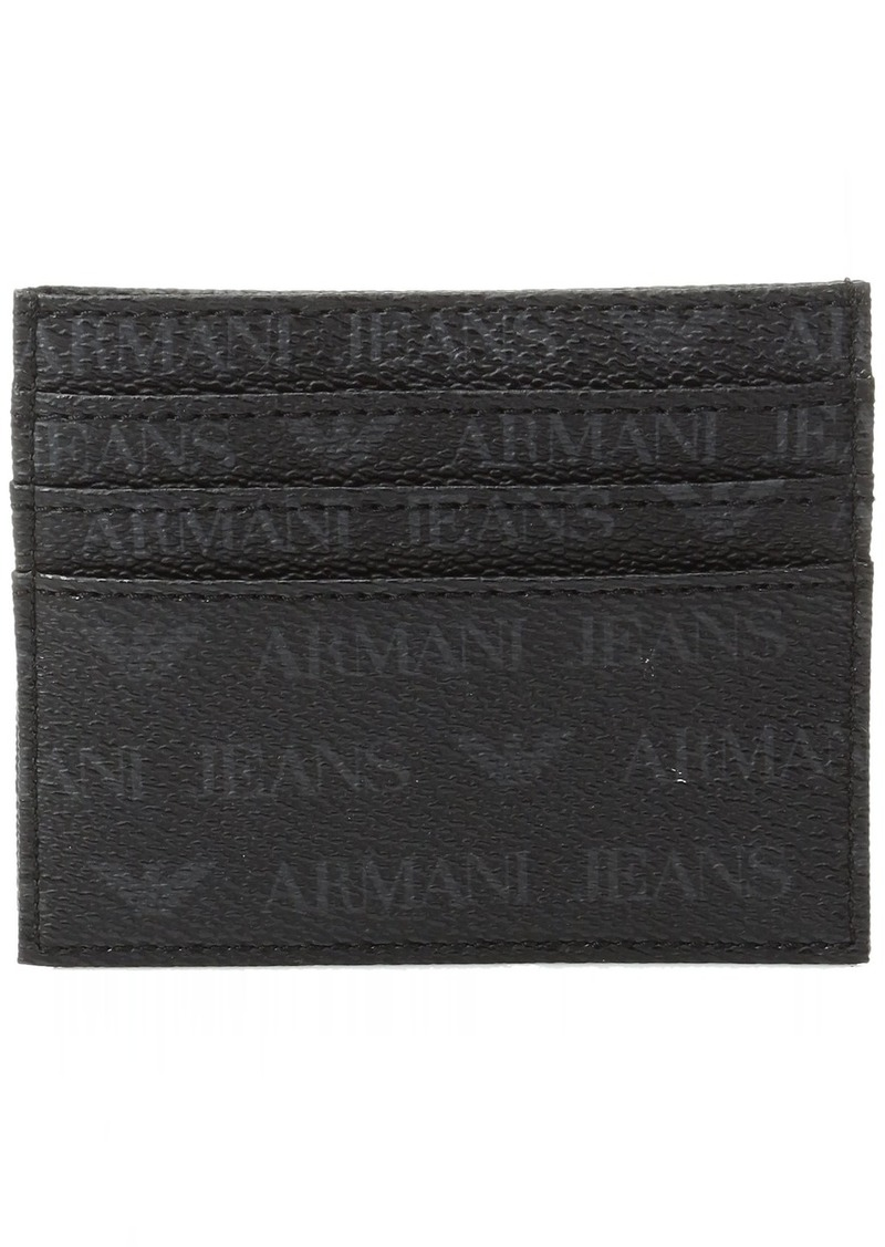 Armani Exchange Armani Jeans Men's All Over Logo Pu Credit Card Holder