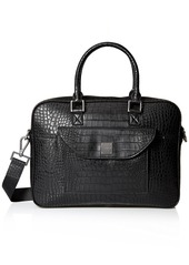 Armani Exchange Armani Jeans Men's Croco Embossed Briefcase with Laptop Compartment