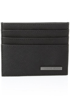 Armani Exchange Armani Jeans Men's Saffiano Embossed Credit Card Holder Black