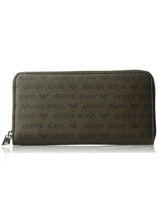 Armani Exchange Armani Jeans Men's Safiano Embossed Pu Round Zip Wallet
