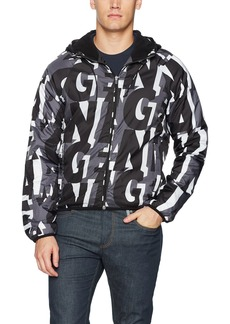 A|X Armani Exchange Men's All Over Lettering Logo Windbreaker AX CAMOLETTERING MAG