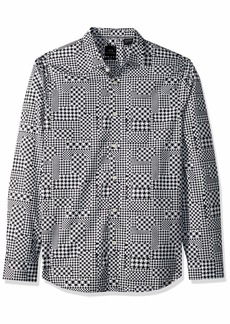 A|X Armani Exchange Men's All Over All Over poplin Shirt PIED de Poule BS White S