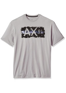A|X Armani Exchange Men's Ax 91 Metallic Logo Crew Neck