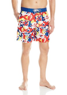 A|X Armani Exchange Men's Ax Logo Primary Color Printed Swimsuit