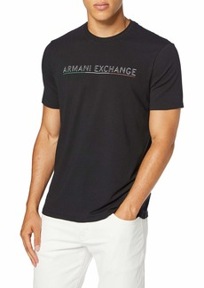 A|X Armani Exchange Men's AX Text Logo T-Shirt with Italian Flag Color Underline  XS
