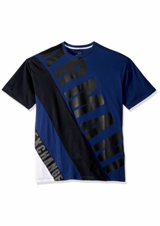 A|X Armani Exchange Men's Aysmetrical Graphic tee Brush TWILIG a.White o DIAG XXL