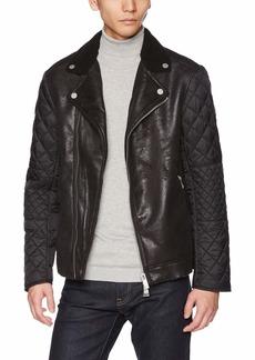 A|X Armani Exchange Men's Aysmetrical Leather Jacket  XL