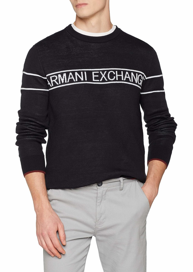 A|X Armani Exchange Men's Band Pullover Crewneck Sweater  M