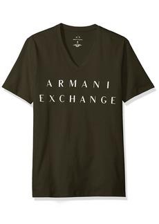 A|X Armani Exchange Men's Basic Logo V Neck Tee DK Moss