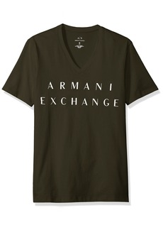 A|X Armani Exchange Men's Basic Logo V Neck Tee DK Moss