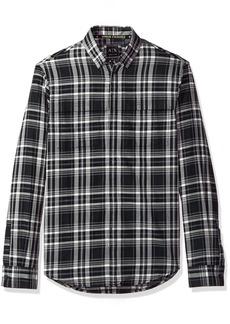 A|X Armani Exchange Men's Black Plaid Long Sleeve Button Down Macro Check WH
