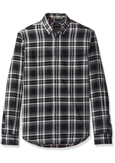 A|X Armani Exchange Men's Black Plaid Long Sleeve Button Down Macro Check WH