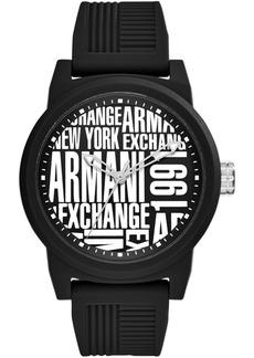 AX Armani Exchange Men's Black Silicone Strap Watch 46mm