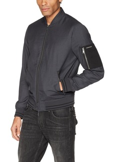 A X Armani Exchange Men's Bomber Jacket with Zipper and Stripe Detail  M
