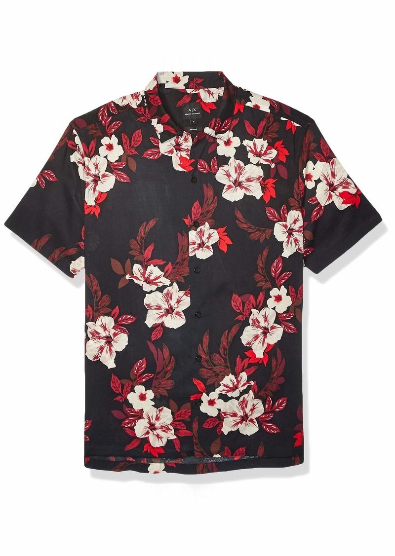A|X Armani Exchange Men's Button-Up Shirt Tropical Flowers BS Black M