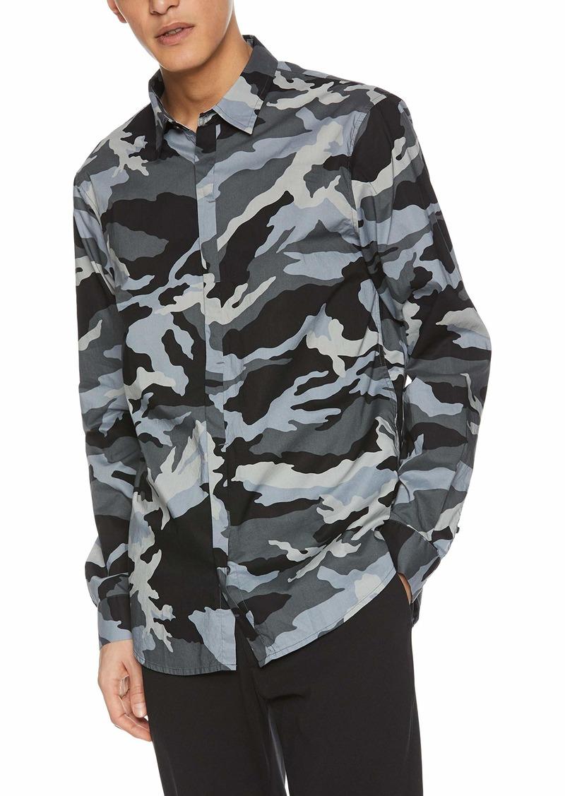 A|X Armani Exchange Men's Camoflauge Long-Sleeve Button Down Grey CAMO XL