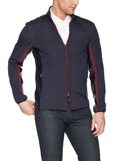 A|X Armani Exchange Men's Casual Jacket with Leather Collar and Red Zipper  L