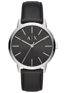 AX Armani Exchange Men's Cayde Black Leather Strap Watch 42mm