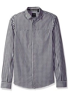 A|X Armani Exchange Men's Check Plaid Slim Fit Long Sleeve Button Down Optical Magnet