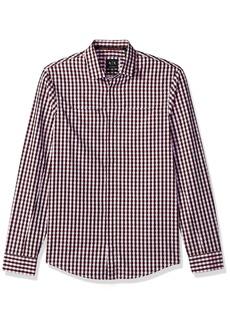 A|X Armani Exchange Men's Check Plaid Slim Fit Long Sleeve Button Down Optical Poppy