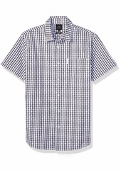 A|X Armani Exchange Men's Checkered Short Sleeve Button Down Shirt with Collar White/Starry M