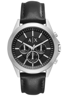 AX Armani Exchange Men's Chronograph Black Leather Strap Watch 44mm AX2604
