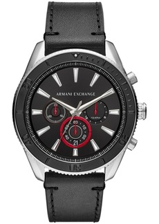 AX Armani Exchange Men's Chronograph Black Leather Strap Watch 46mm