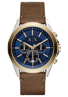 AX Armani Exchange Men's Chronograph Drexler Brown Leather Strap Watch 46mm