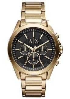 AX Armani Exchange Men's Chronograph Drexler Gold-Tone Stainless Steel Bracelet Watch 44mm