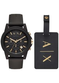 AX Armani Exchange Men's Chronograph Outerbanks Black Silicone Strap Watch 45mm Gift Set