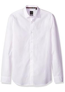 A|X Armani Exchange Men's Classic Cotton Poplin Long Sleeve Button Down Shirt