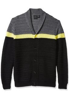 A|X Armani Exchange Men's Color Block Large Knit Cardigan BASEBLACK/STRIPEACAC