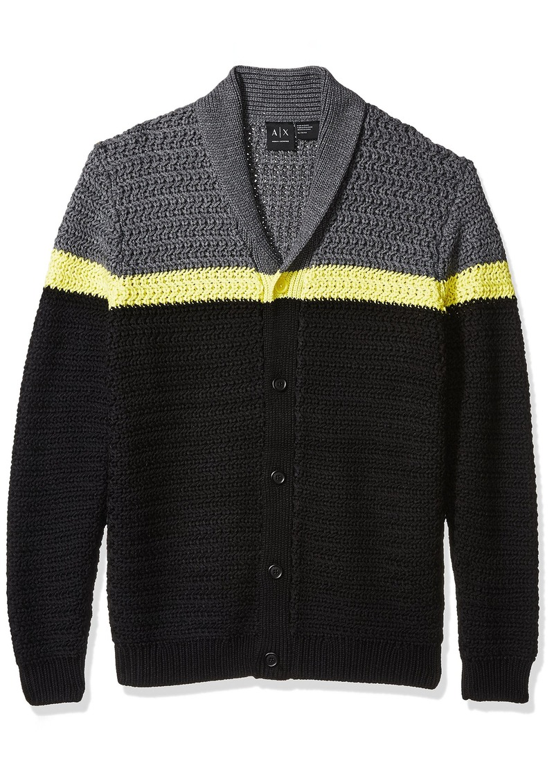 A|X Armani Exchange Men's Color Block Large Knit Cardigan BASEBLACK/STRIPEACAC