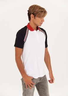 A|X Armani Exchange Men's Colorblocked Sleeve Polo Shirt with Diagonal Stripe White with Black S