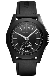 AX Armani Exchange Men's Connected Black Silicone Strap Hybrid Smart Watch 44mm