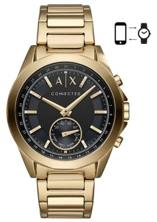 AX Armani Exchange Men's Connected Gold-Tone Stainless Steel Bracelet Hybrid Smart Watch 44mm