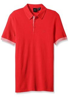 A|X Armani Exchange Men's Core Striped Tipped Polo RED