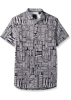 A|X Armani Exchange Men's Cotton Button Down Shirt Navy with Typography L