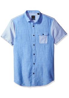 A X Armani Exchange Men's Cotton Linen Single Pocket Short Sleeve Shirt