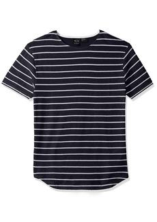 A X Armani Exchange Men's Cotton Linen Striped Tee