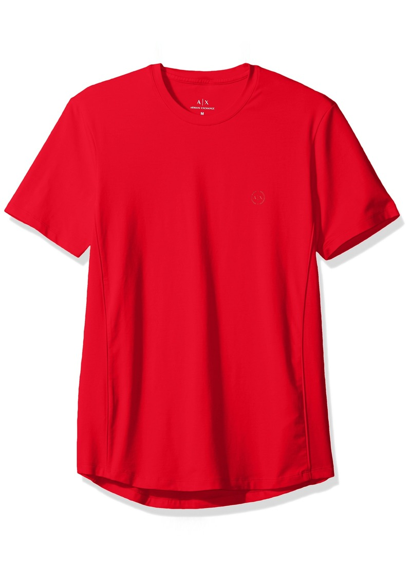 A|X Armani Exchange Men's Cotton Spandex Crew Neck Front Chest Logo Side Piping RED