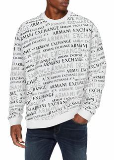 A|X Armani Exchange Men's Crew Neck Pattern Logo Pullover White Extreme XXL